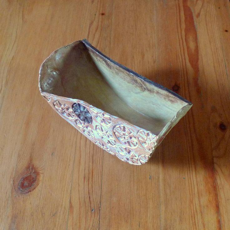 Decorative ceramic bowl The Rocking Pot, handbuilt stoneware pottery, imprinted, OOAK ceramic gift, unusual moving planter, home decor by FormerlyFleece on Etsy