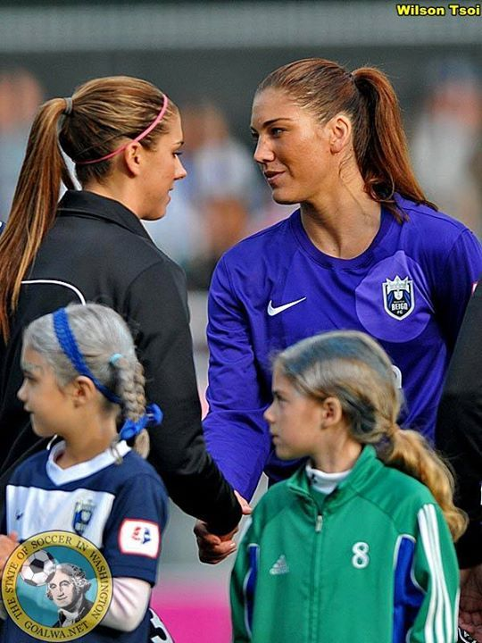 Nothing like a little rivalry.  Alex Morgan and Hope Solo