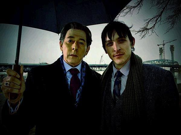 When Penguin (Robin Lord Taylor) met his father, Elijah (Pee-wee Herman) on the Gotham set.