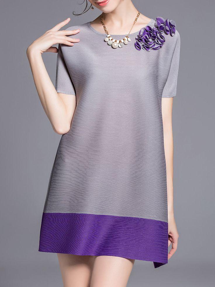 #AdoreWe #StyleWe Tops - KK2 Gray Casual Polyester A-line Tunic - AdoreWe.net