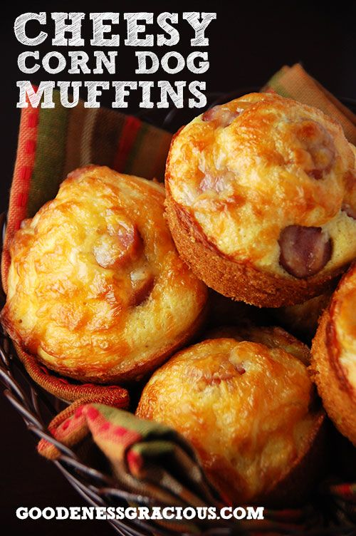 Cheesy Corn Dog Muffins. My kids LOVE these things, and secretly I do, too, even though I am not a fan of hot dogs. I double the milk and use a heaping cup of cheese. I also use hot dogs and cut them into circles, and then the circles in half.