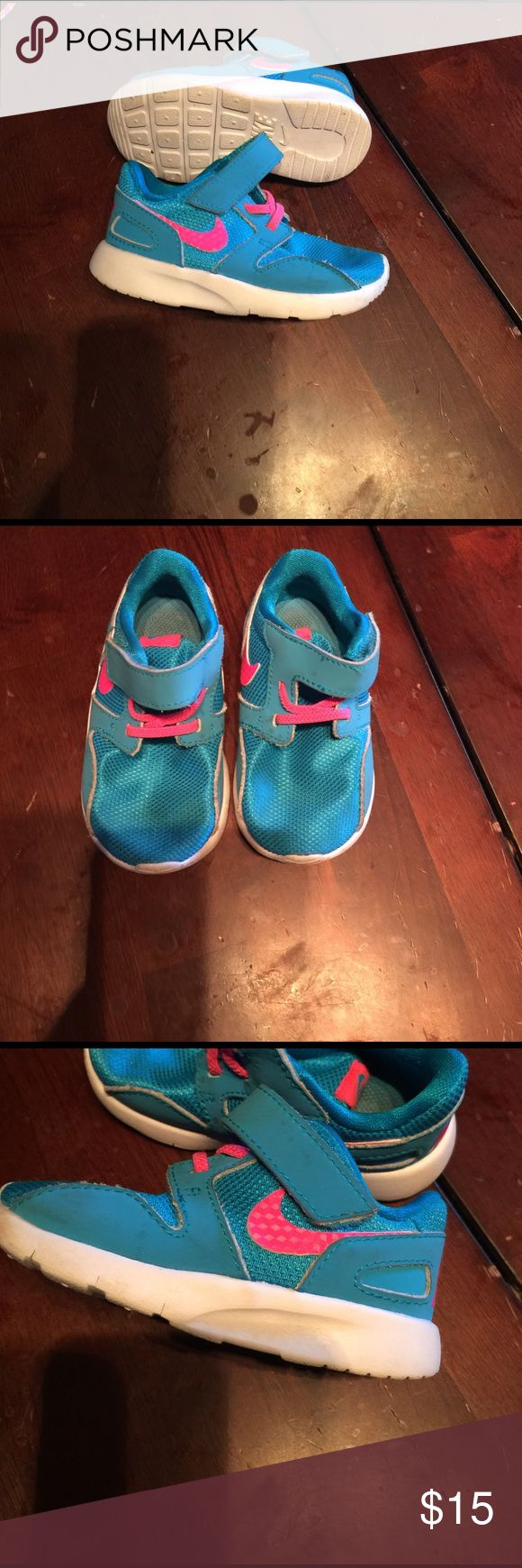Baby Nike shoes Blue,pink and white baby Nike tennis shoes. Worn a few times,still in great condition!! Make an offer! Nike Shoes Sneakers