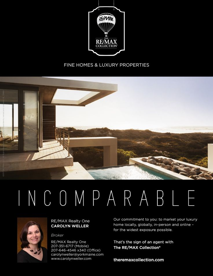 When it's time to list your luxury home, don't leave to anyone else, but RE/MAX. Let me show you the RE/MAX difference! www.carolynweller.com