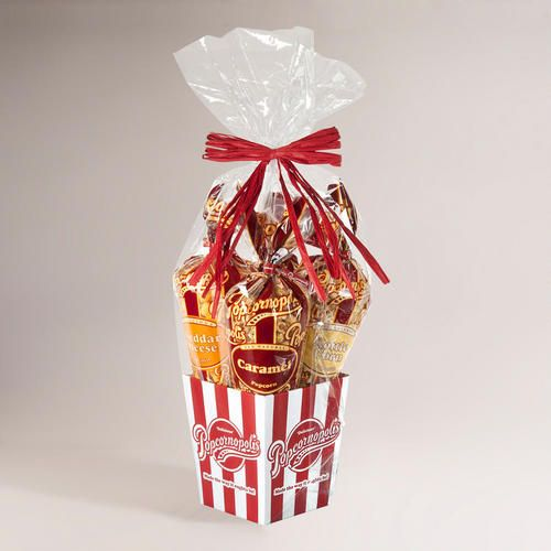 One of my favorite discoveries at WorldMarket.com: Popcornopolis 4-Cone Classic Gourmet Popcorn Gift Basket