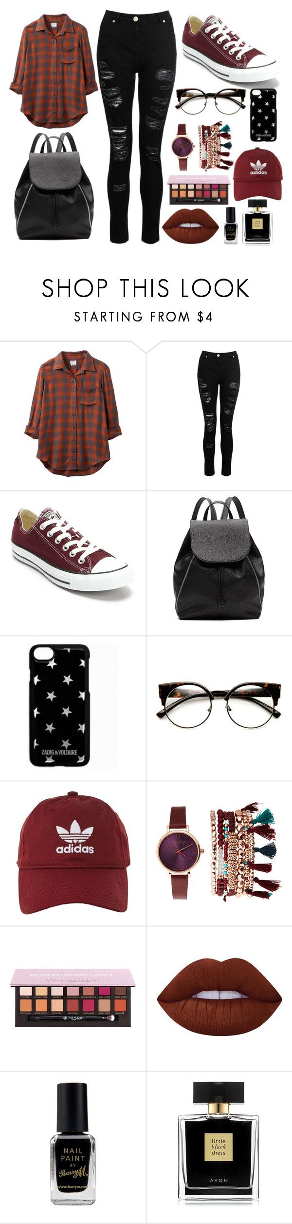 """""""Simple"""" by thisisalle on Polyvore featuring RVCA, Dorothy Perkins, Converse, Witchery, Zadig & Voltaire, adidas, Jessica Carlyle, Lime Crime, Barry M and Avon"""