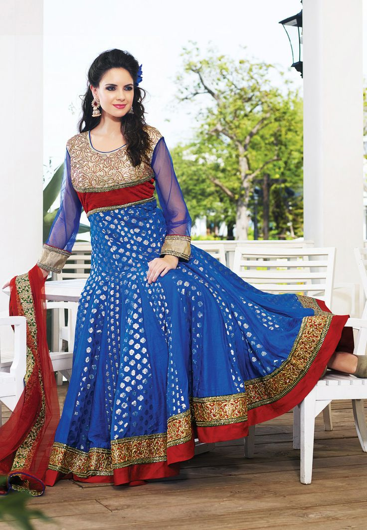 Red and Blue Art Silk Jacquard and Art Silk Abaya Style Churidar Kameez Online Shopping: KVF44