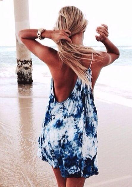 Tie dyed beach dress. Gorgeous tan.