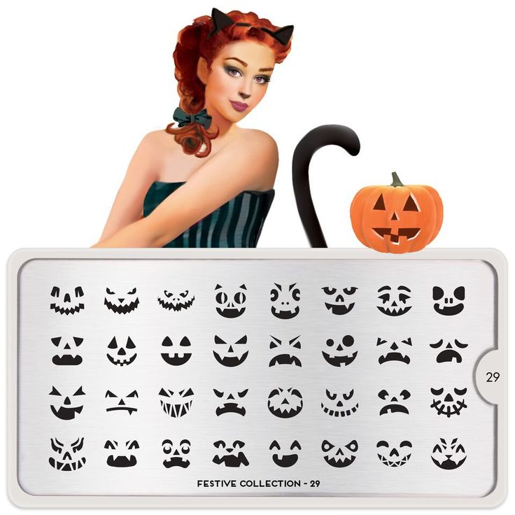 This stamping plate includes 32 different jack-o-lantern faces to top your nails for incredible Halloween mani.