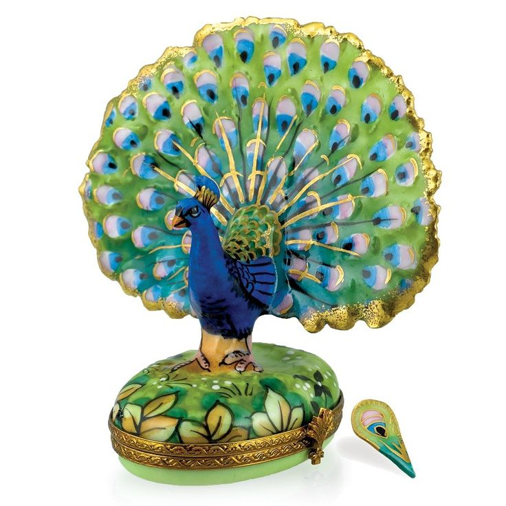 Peacock Limoges Box with Feather - $365.00