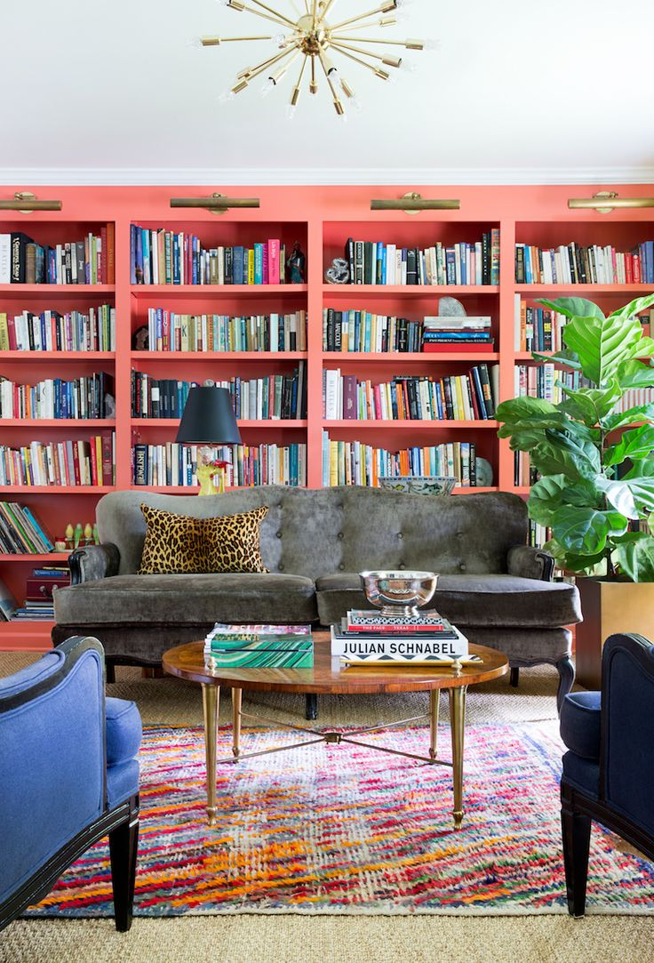 Merrileeu0027s Artistic Bungalow. Colorful Living RoomsBookshelvesBookshelf ...
