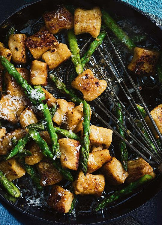 How to make Pan-Fried Gnocchi with Asparagus & Miso Dressing