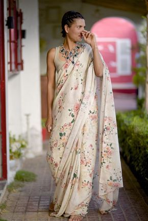 Organic and Ethical Sarees by shop kaito, Indian Handloom Sarees with Border, Linen Sarees with Border, Botanical print Sarees