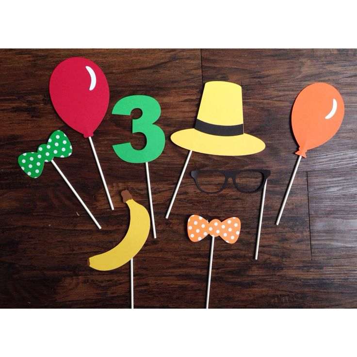 Set of 7 Curious George photo party props by MamaMatryoshka $20.00  sc 1 st  Pinterest & 42 best Curious George Party Ideas images on Pinterest | Curious ...