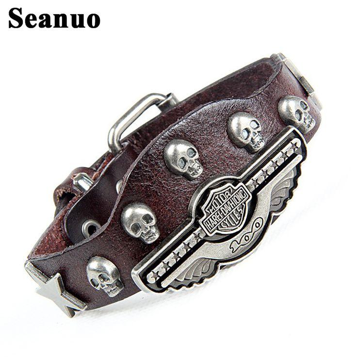 Seanuo 2017 fashion skeleton skull branded men leather cuff bracelet vintage punk rock wide women biker wrap evil bangle jewelry