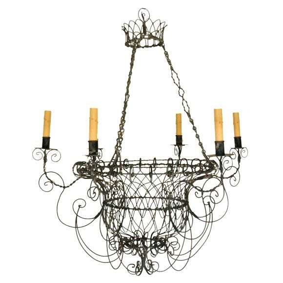 French Wire Basket Chandelier Country