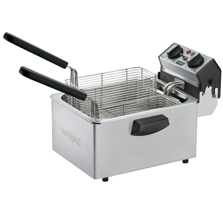 The Waring WDF75RC deep fryer features an 8.5 lb. capacity, twin steel wire baskets (3 lb food capacity), hinged heating element and removable stainless steel tank, and a 30-minute timer. #CountertopFryer