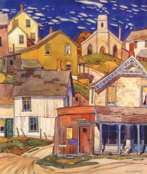 A.J. Casson (Canadian, 1898 – 1992) Seaside Village, c. 1927
