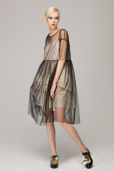 Smock dress in sheer mesh - FrontRowShop