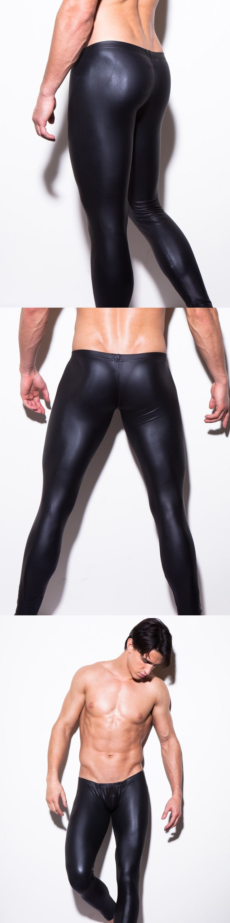 Sexy Men U Pouch Faux Leather Shiny Leggings Low-rise Tight  U Convex Pouch Gay Wear Erotic lingerie Costume