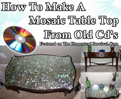 This simple tutorial of how to make a mosaic table top from old Cds is a great way to upgrade a worn table into a unique shinny layer creativity. A rainbow of colors with be reflected as sunlight moves across the table. Materials: Pile of old scratched CD's Krylon Crystal Clear Gloss Scissors Table (hopefully …