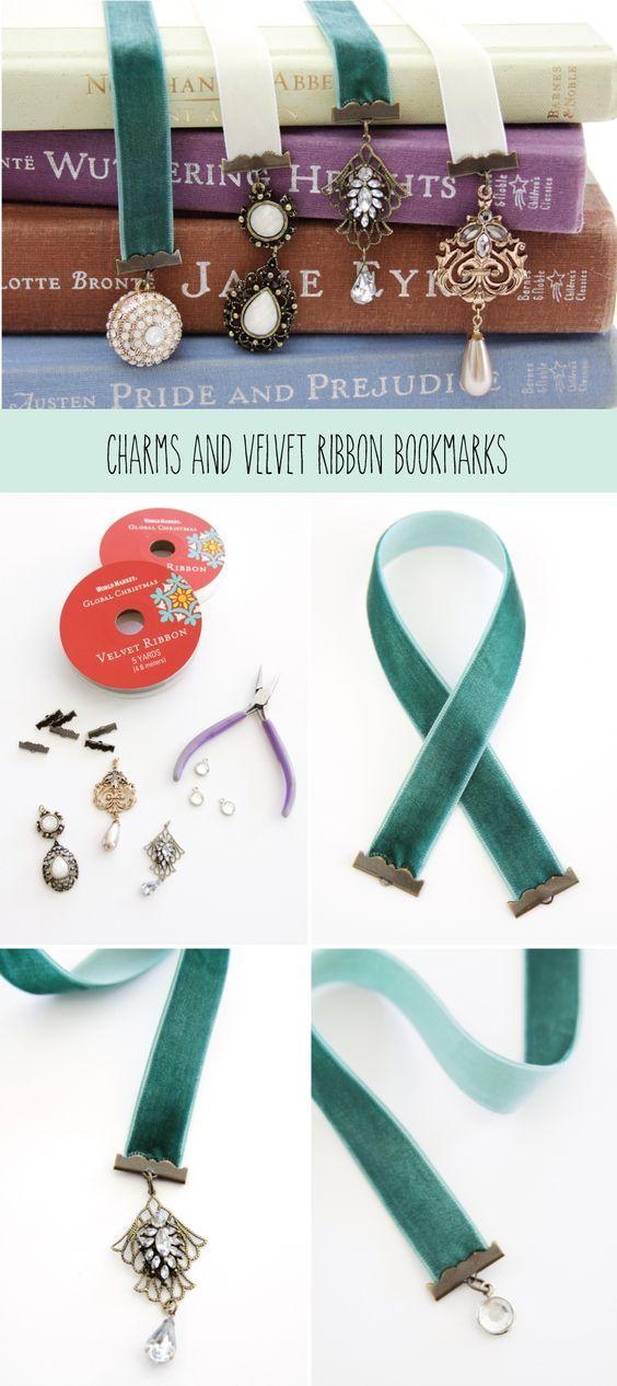 Charm and Velvet Ribbon Bookmarks: