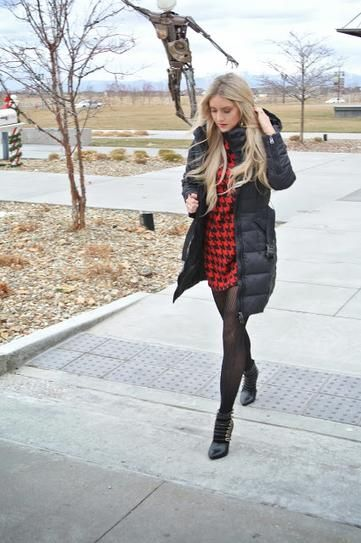 20 outfits that show puffer coats CAN be stylish - winter puffer coat with red plaid shirt dress and sheer tights