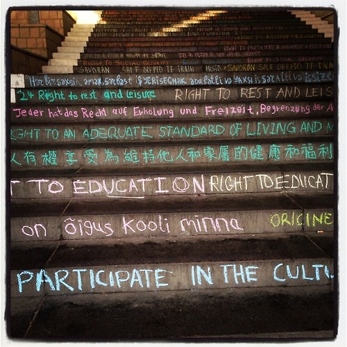 Human Rights articles on the steps of the University of Essex.    Celebration of human rights week.