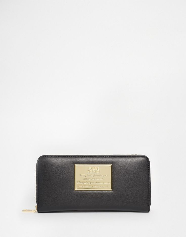 Love+Moschino+Leather+Zip+Top+Purse+in+Black