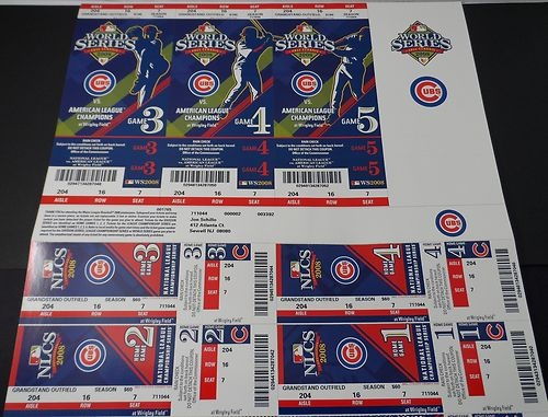 2008 CHICAGO CUBS PHANTOM WORLD SERIES TICKETS & PLAYOFF TICKET SHEET