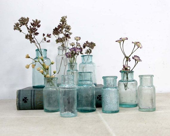 10 Round Aqua Blue Apothecary Bottles by ConceptFurnishings