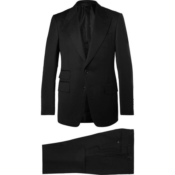 TOM FORD Icon Black Shelton Slim-Fit Grain De Poudre Wool-Blend Suit ($4,265) ❤ liked on Polyvore featuring men's fashion, men's clothing, men's suits, slim fit mens clothing, tom ford mens clothing, mens slim suits, tom ford mens suits and mens slim fit suits