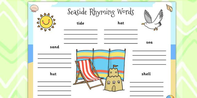 seaside rhyming words worksheet twinkl seaside resources pinterest seaside the o 39 jays and. Black Bedroom Furniture Sets. Home Design Ideas