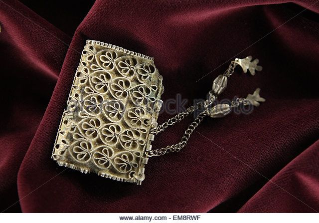 Great Moravian silver kaptorga (early medieval container for amulets) with filigree ornament from the Princess grave - Stock Image