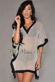 Gray Knit See-Thru Cover-Up
