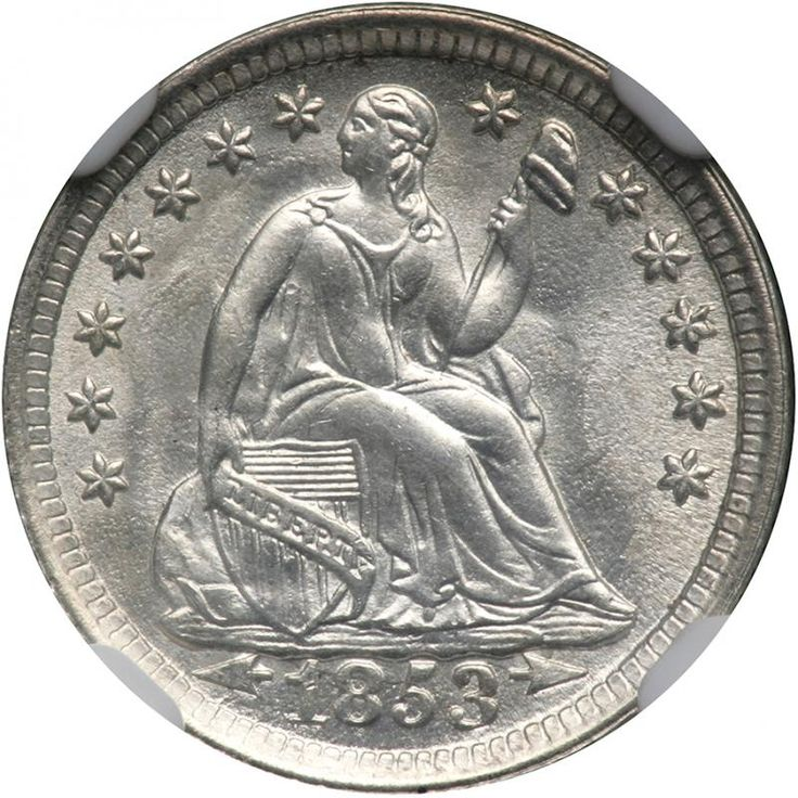 1853 Liberty Seated Half Dime. Arrows. NGC MS67 Fully white. Aesthetically appealing, a handsome full strike bristling with bright mint bloom and without toning. Nicely struck, and unlike those which have the faintest touch of weakness at the centers, this exemplary coin is bold, with perhaps only the lower obverse rim denticles not quite up to being sharp. The effects of the California Gold Rush on the United States' circulating silver coinage were immediate and unprecedented. With the…
