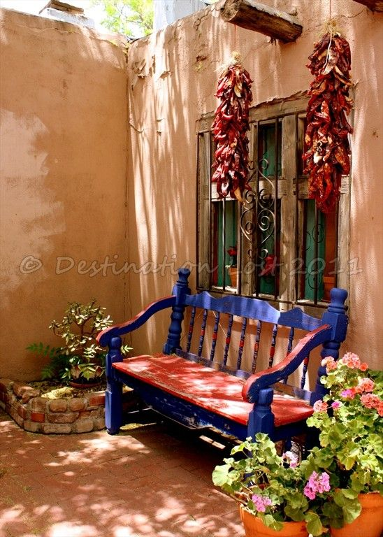 New Mexico Chili Peppers And Bench In Old Town Blank By Destinationlostphoto