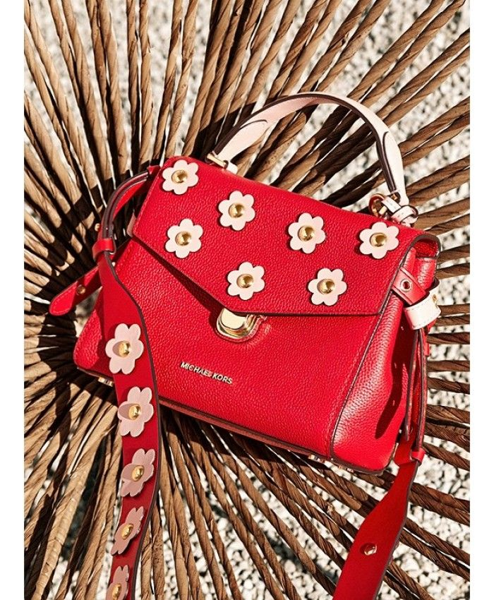 651d525368bca Michael Kors Crossbody Bristol Floral Appliqué Leather Bright Red Soft Pink