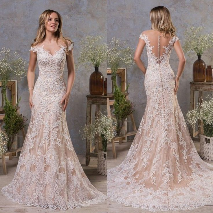 Champagne Wedding Dresses Bridal Gowns Sheath Cap Sleeves Plus Size 0 4 8 12 16 …