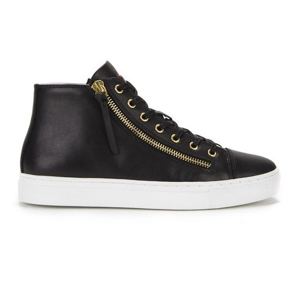 HUGO Women's Nycolette-L Leather Hi-Top Trainers ($140) ❤ liked on Polyvore featuring shoes, sneakers, black, leather shoes, black leather sneakers, black sneakers, black shoes and metallic sneakers