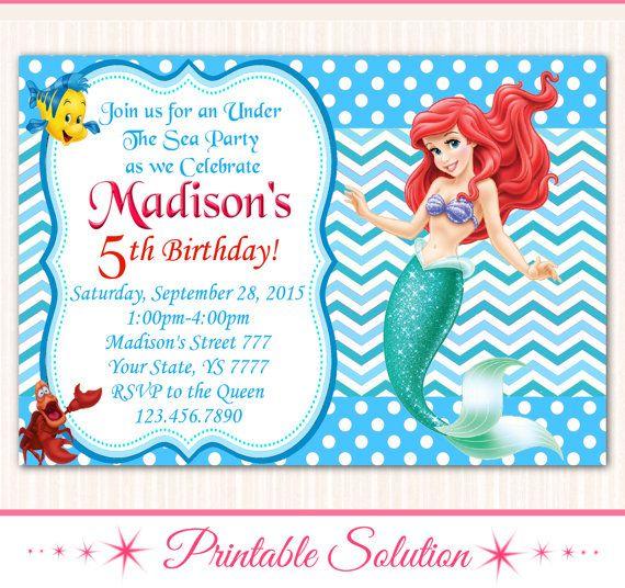 65 best Invitaciones de La Sirenita Ariel images on Pinterest | Little mermaids, Mermaid parties ...