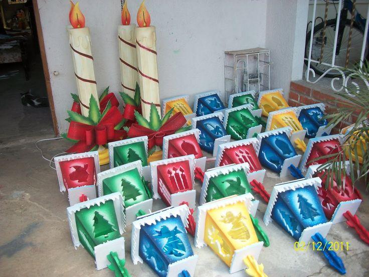 faroles navideños en icopor - Buscar con Google
