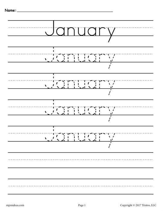 12 Months Of The Year Handwriting Worksheets