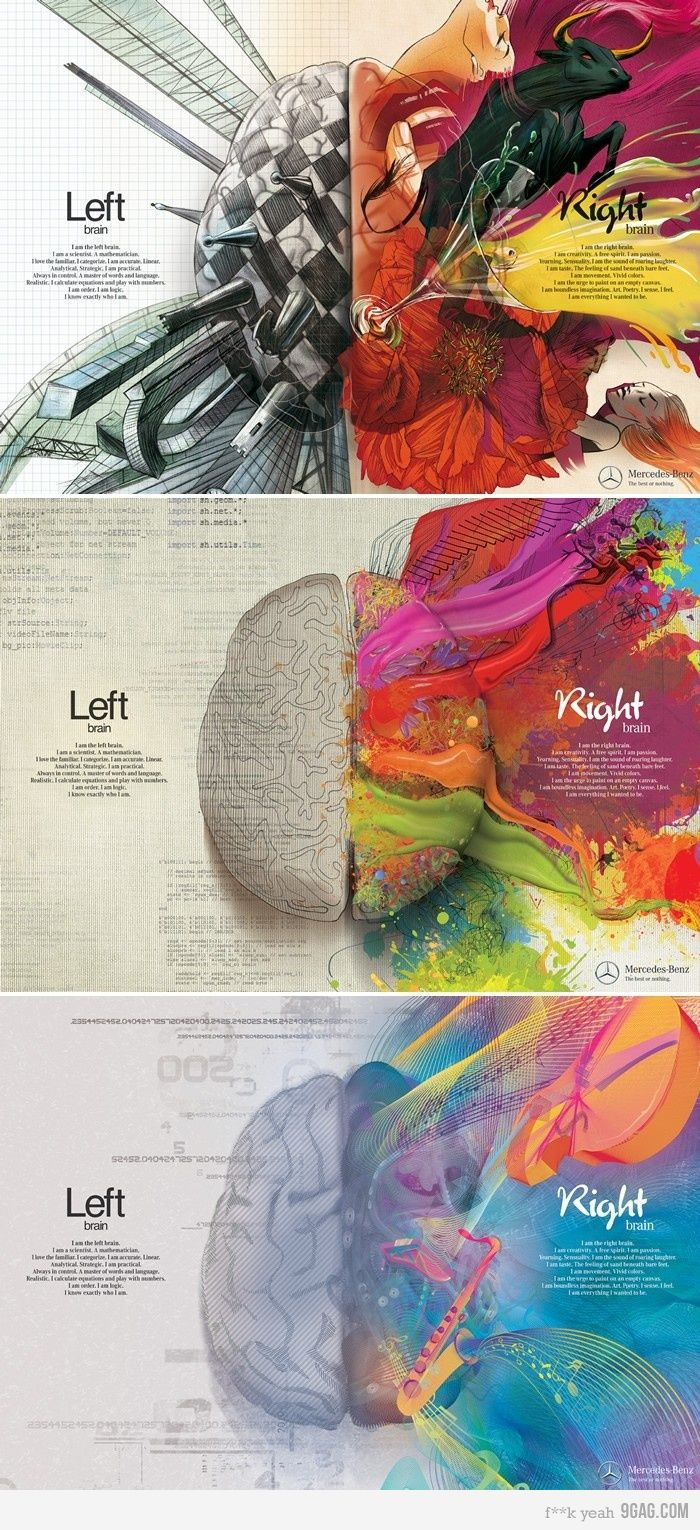"Left Brain vs. Right Brain.  The text for the left brain reads:    ""I am the left brain. I am a scientist. A mathematician. I love the familiar. I categorize. I am accurate. Linear. Analytical. Strategic. I am practical. Always in control. A master of words and language. Realistic. I calculate equations and play with numbers. I am order. I am logic. I know exactly who I am.""          And for the right brain:  ""I am the right brain. I am creativity. A free spirit. I am passion. Yearning…"