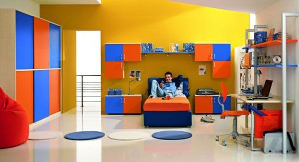 Stained blue yellow orange red bed room youth man teenager design shelves window carpet