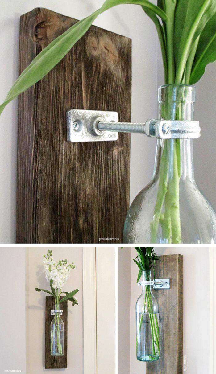 Wine bottle wall vase - upcycled DIY idea | design inspiration #diy #inteligentnystyl www.amica.com.pl