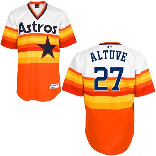 b632778c0 Make any day feel like game day with the Houston Astros Jose Altuve Men s  Replica 1979 Turn Back The Clock Jersey (White Orange). This jersey featu…