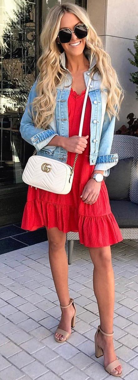 #spring #outfits photo of woman wearing black framed sunglasses, blue denim jacket, red dress, and pair of beige heels. Pic by @macystucke