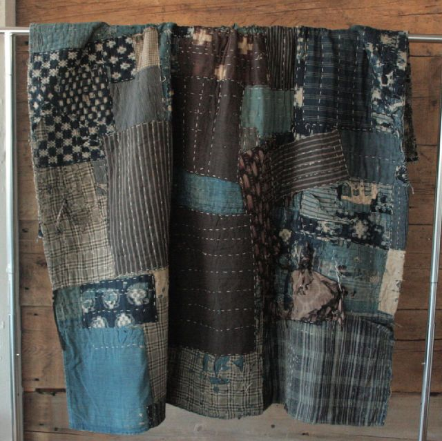 japanese boro patchwork blanket • vintageUS $1,500