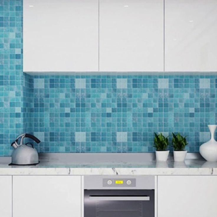 45 x 200 cm mosaico folha de alumínio auto adhensive Anti óleo papel de parede para cozinha adesivos de parede DIY home decor cozinha papel de parede em Papéis de parede de Casa & jardim no AliExpress.com | Alibaba Group