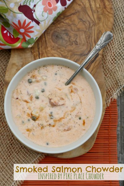Smoked Salmon Chowder inspired by Pike Place Chowder in Seattle #soup #salmon | girlichef.com